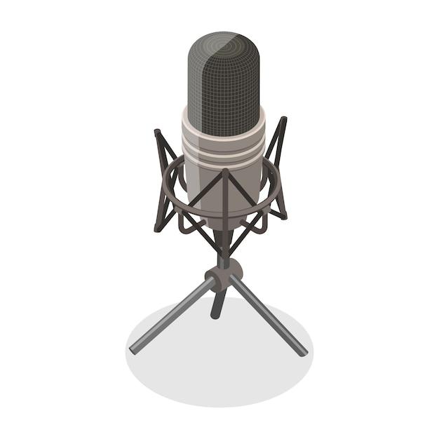 3d изометрические плоская концепция микрофона Premium векторы