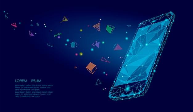 Электронная книга мобильный смартфон 3d виртуальная реальность визуальное воображение эффект разума, низкая поли многоугольной Premium векторы