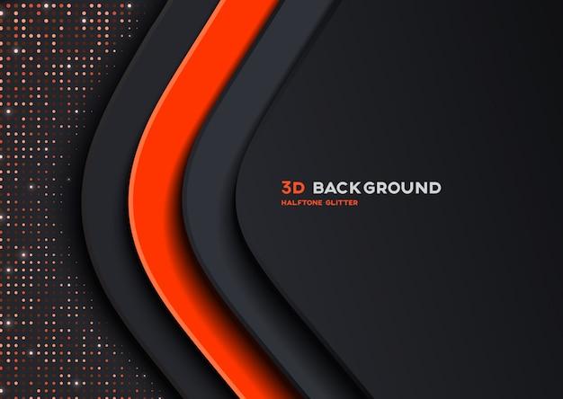 Элегантный 3d оранжевый фон с текстурой полутонового блеска Premium векторы