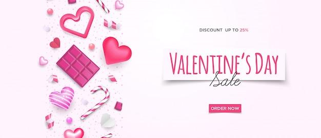 3d симпатичные валентина продажи баннер Premium векторы