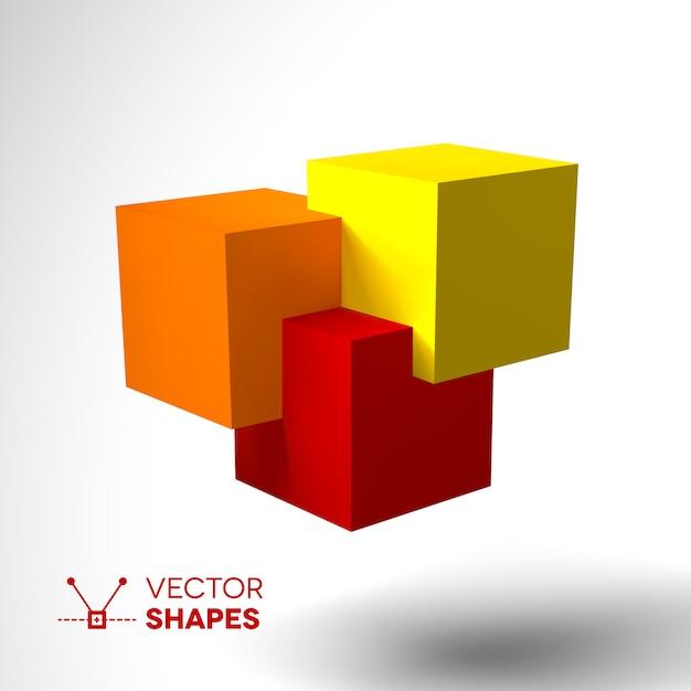 明るい色の立方体の3dロゴ Premiumベクター