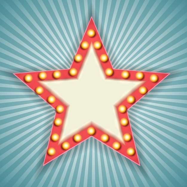 Урожай 3d свет ретро звезда кадр. Premium векторы