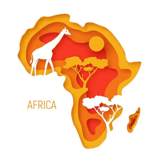Африка. декоративная бумага 3d вырезать карта континента африки с силуэтами диких животных. Premium векторы