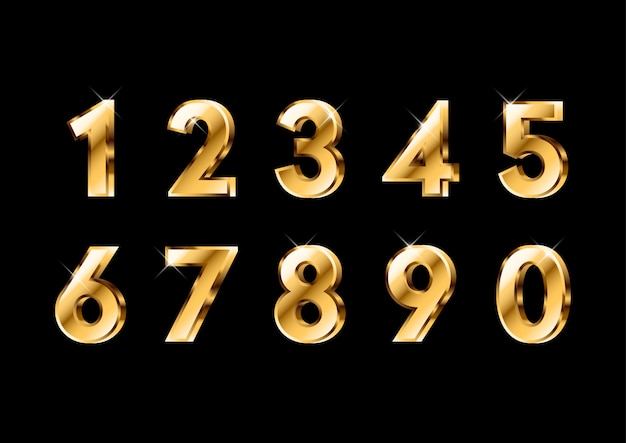 3dシャイニーゴールドナンバーセット Premiumベクター