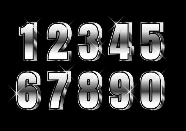 3d серебряный сильный металлический набор чисел Premium векторы