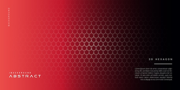 3d темно-красный абстрактный фон с шестигранной Premium векторы