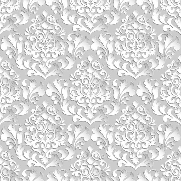 ダマスク織のシームレスなパターンのベクトルの背景。壁紙、背景、ページ入力用のエレガントで豪華なテクスチャ。影とハイライト付きの3d要素。ペーパーカット。 無料ベクター