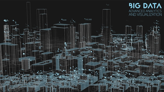 3d абстрактный анализ городской финансовой структуры больших данных Бесплатные векторы