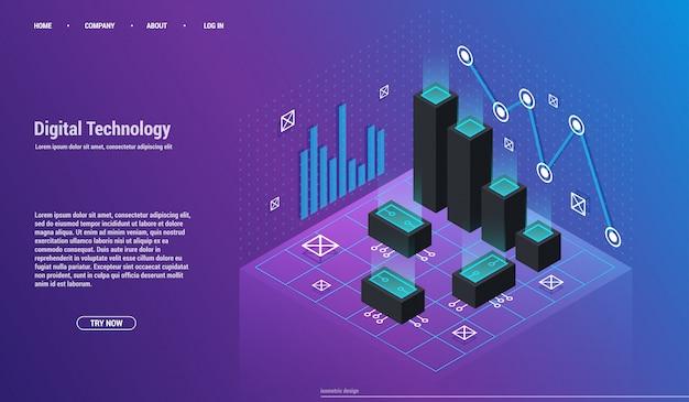 Анализ и инвестиции. концепция визуализации данных. 3d изометрии Premium векторы