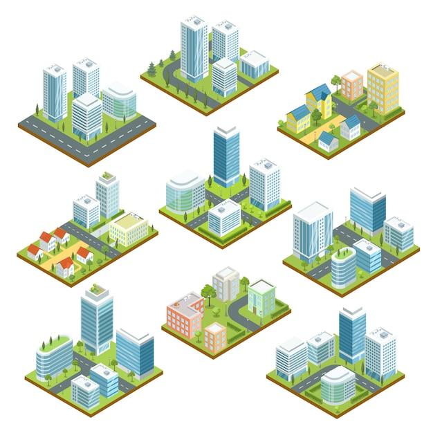 Современный изометрический 3d набор в центре города Premium векторы