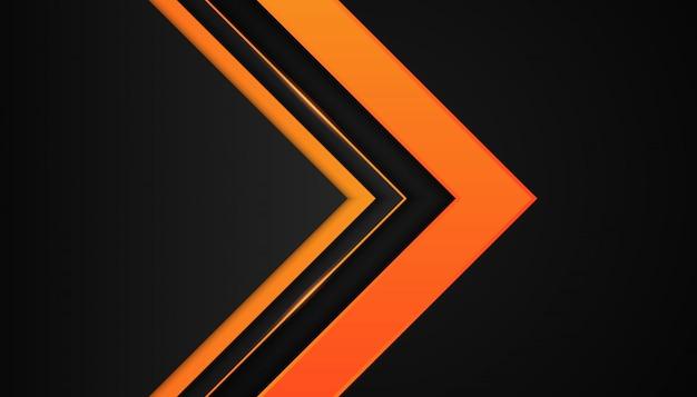 Современная 3d геометрия формирует черные линии с оранжевыми рамками на темном фоне Premium векторы