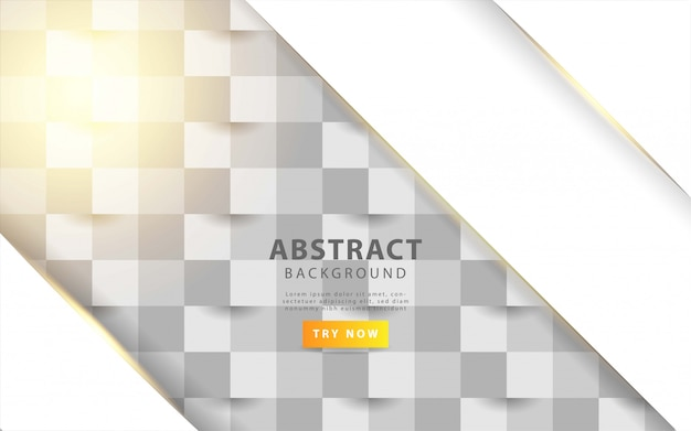 Белая абстрактная текстура. векторный фон 3d бумага в стиле арт с золотой линией Premium векторы