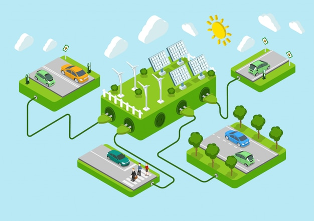 Электромобили плоские 3d веб изометрической альтернативы эко зеленый энергии образ жизни инфографики концепция вектор дорожные платформы, солнечная батарея, ветрогенератор, шнуры питания. экология энергопотребления. Бесплатные векторы
