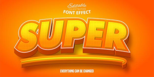 Супер текст, 3d-редактируемый эффект шрифта Premium векторы
