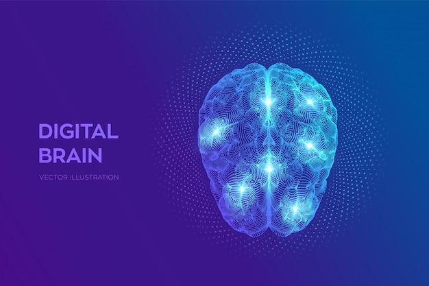 Цифровой мозг с двоичным кодом. 3d наука и технологии Premium векторы