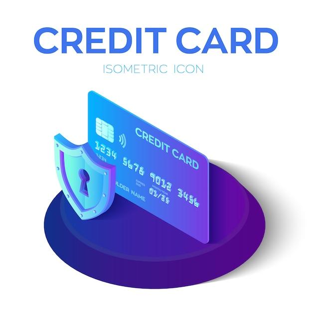 クレジットカード。保護クレジットカード。 3dアイソメトリック。 Premiumベクター