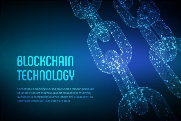 ブロックチェーン。暗号通貨。ブロックチェーンのコンセプト。デジタルコードを使用した3dワイヤフレームチェーン。編集可能な暗号通貨テンプレート。株式ベクトル図 Premiumベクター