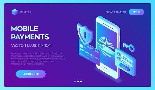 Проверка кредитной карты и данные о доступе к программному обеспечению конфиденциальны. мобильные платежи. защита персональных данных. 3d изометрии. Premium векторы