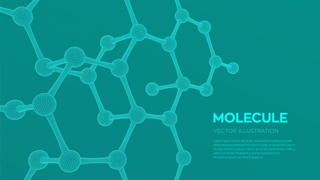 3d科学分子の背景。 Premiumベクター
