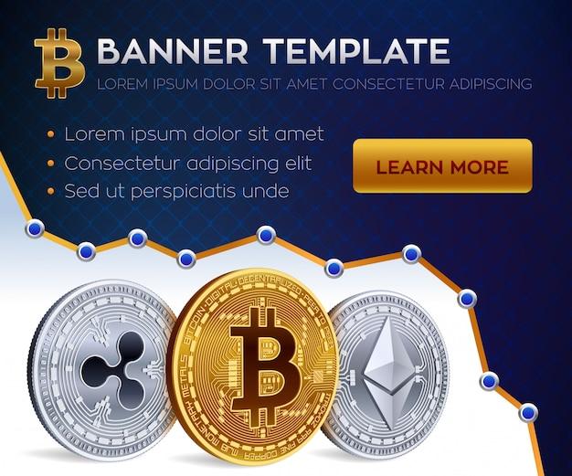 暗号通貨の編集可能なバナーテンプレート。ビットコイン、イーサリアム、リップル。 3dアイソメトリック物理コイン。黄金のビットコインコインと銀のエーテルとリップルコイン。株式 Premiumベクター