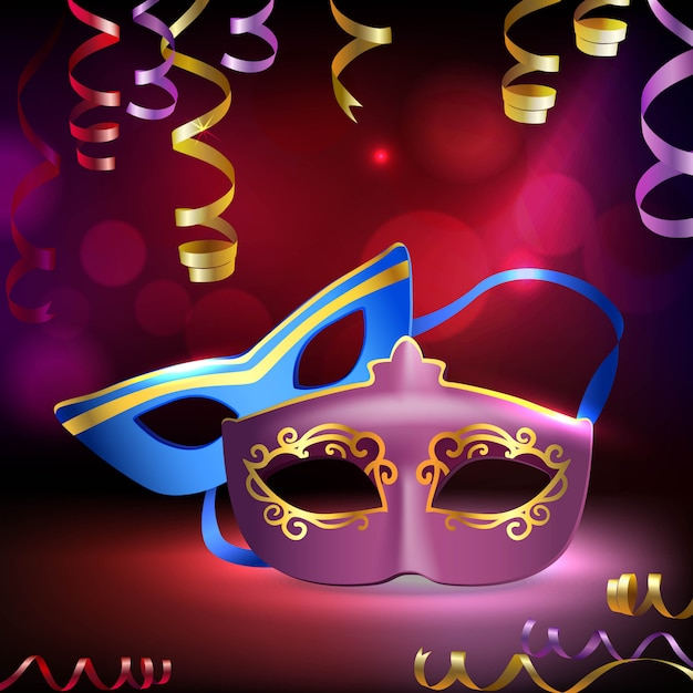 Традиционный венецианский карнавал марди гра реалистичные 3d маски Бесплатные векторы