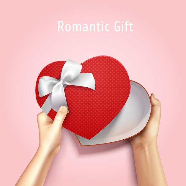 Руки, держа подарочной коробке вид сверху реалистичные 3d композиции с коробкой в форме сердца и редактируемый текст Бесплатные векторы