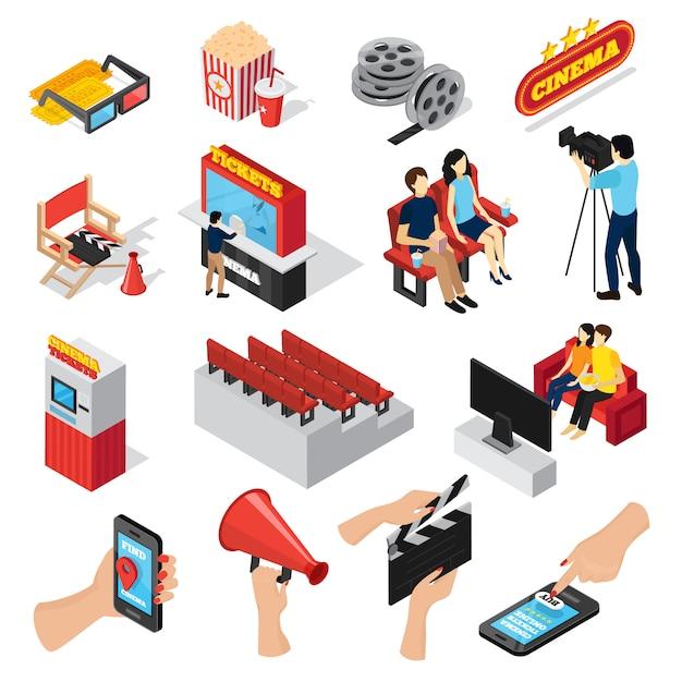 Кинотеатр 3d изометрические набор изолированных мест билетная касса люди попкорн и смартфон иконки приложений Бесплатные векторы