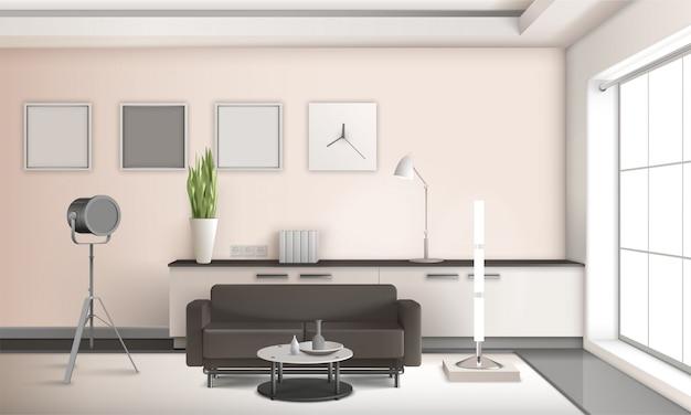 Реалистичный интерьер гостиной с 3d дизайном Бесплатные векторы