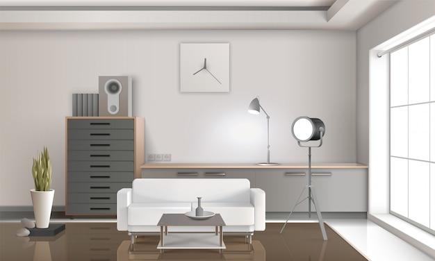 リアルなラウンジインテリアの3dデザイン 無料ベクター
