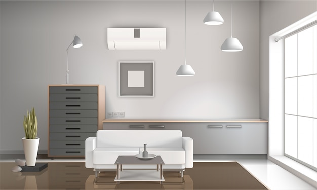 リアルなリビングルームのインテリア3dデザイン 無料ベクター