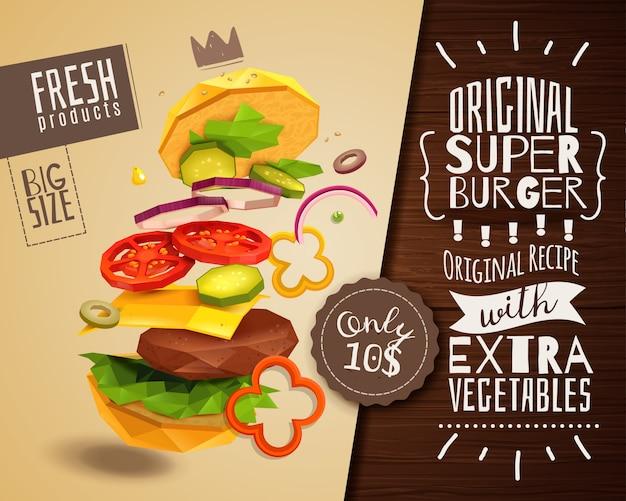 3dハンバーガー水平ポスター 無料ベクター