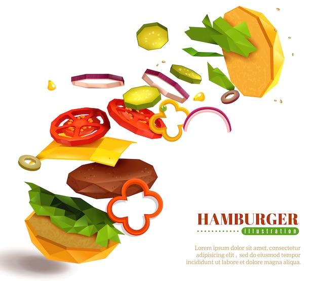 3d летающий гамбургер иллюстрация Бесплатные векторы