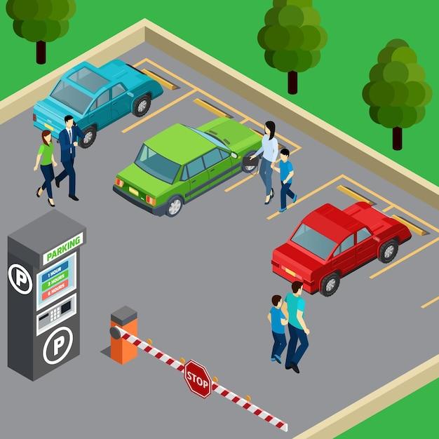 Торговый автомат на стоянке и люди возле своих автомобилей 3d изометрические Бесплатные векторы