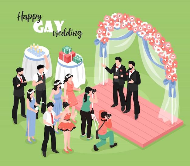 Гей свадебная церемония с профессиональным фотографом и гостями на зеленой 3d изометрии Бесплатные векторы