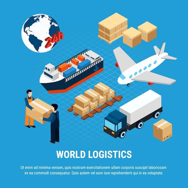 Различные виды логистики грузового транспорта и службы доставки набор работника, изолированных на синем 3d изометрические иллюстрация Бесплатные векторы