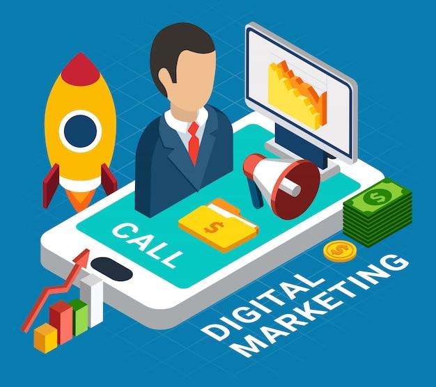 Изометрические красочные цифровой мобильный маркетинг на синем 3d иллюстрации Бесплатные векторы