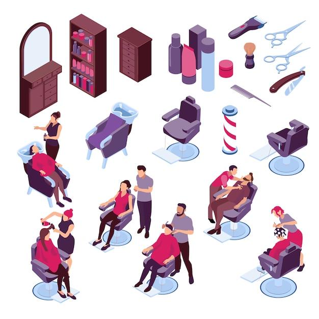 Изометрические иконки с инструментами парикмахерской мебели и людей, окрашивание волос и бритья 3d изолированных иллюстрация Бесплатные векторы
