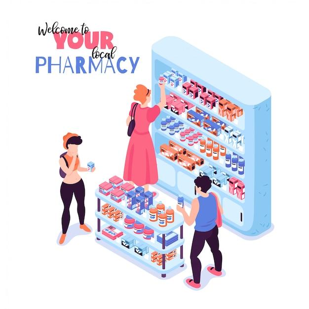 Клиенты покупают лекарства в аптеке 3d изометрические иллюстрации Бесплатные векторы