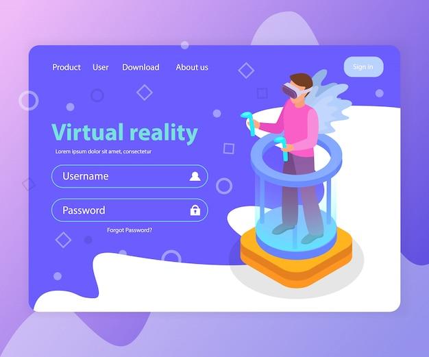 Изометрические целевой страницы с формой входа и человек в очках виртуальной реальности 3d иллюстрации Бесплатные векторы