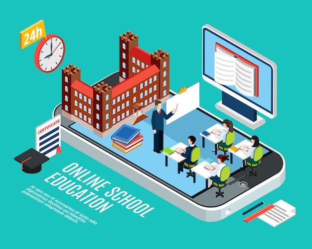 Онлайн школьное образование изометрической концепции со студентами на уроке компьютера и смартфона 3d векторная иллюстрация Бесплатные векторы