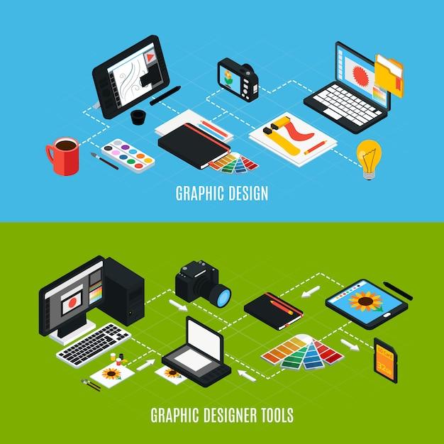 Изометрические красочный набор из двух горизонтальных состав различных инструментов графического дизайна 3d изолированных векторная иллюстрация Бесплатные векторы