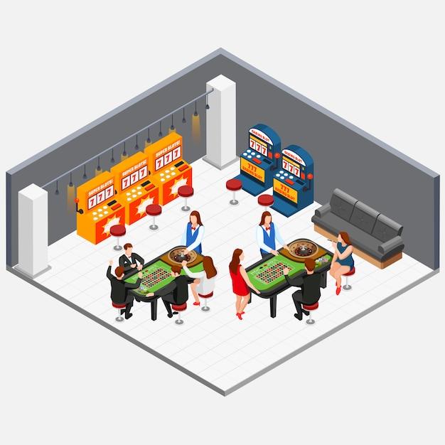 Изометрические концепция с людьми, играющими в комнате казино с игровыми автоматами 3d векторная иллюстрация Бесплатные векторы