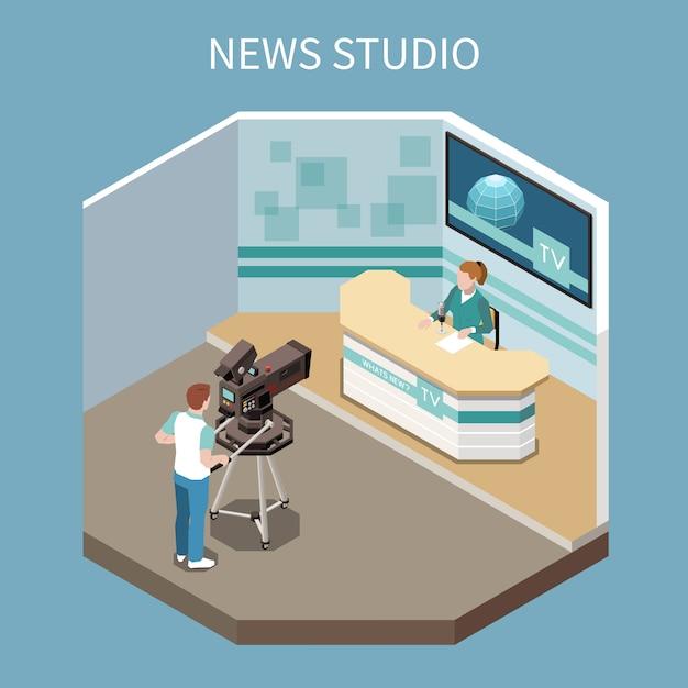 Телекоммуникации изометрической композиции с процессом съемки новостей программы в студии 3d векторная иллюстрация Бесплатные векторы