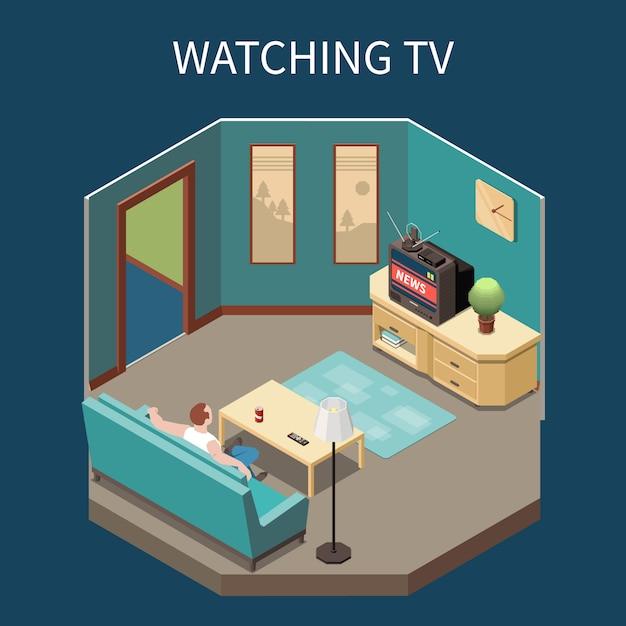Телекоммуникации изометрической композиции с человеком, смотреть новости дома 3d векторная иллюстрация Бесплатные векторы