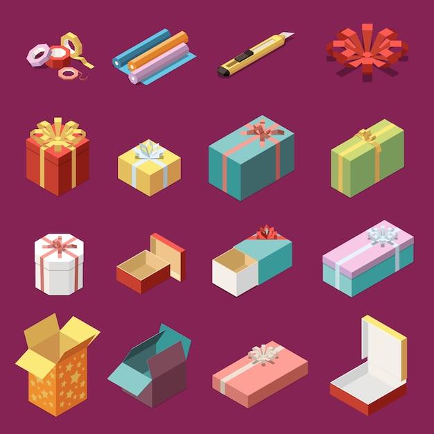 Изометрические набор пустых и упакованных картонных подарочных коробок и канцелярских иконок 3d изолированных векторная иллюстрация Бесплатные векторы