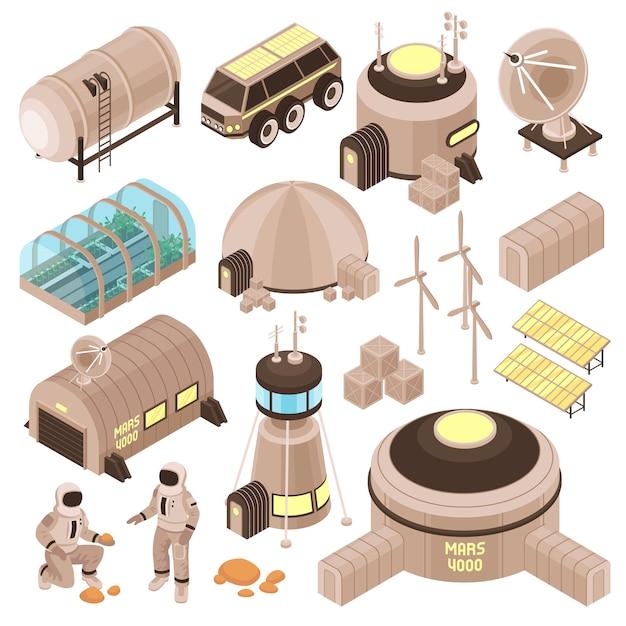 Космическая база зданий и космонавтов на марсе изометрической набор 3d Бесплатные векторы