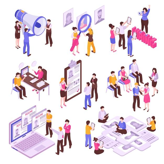 Изометрические набор с людьми, ищущими работу на белом фоне 3d Бесплатные векторы