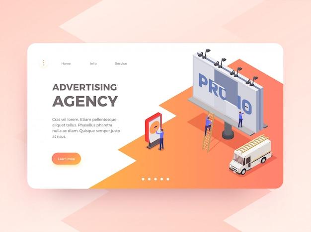 Рекламное агентство изометрической горизонтальный баннер с людьми, меняющими рекламный щит 3d Бесплатные векторы