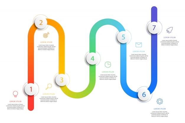 Бизнес график рабочего процесса инфографика с реалистичными 3d круглых элементов. Premium векторы