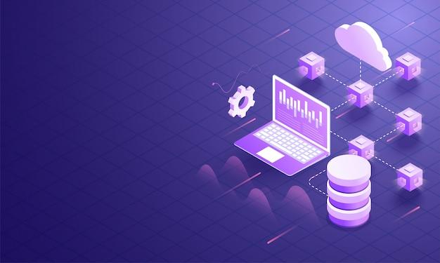 3d иллюстрации облачного сервера. Premium векторы